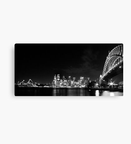 Sydney Harbour Bridge and Opera House in Black and White Canvas Print
