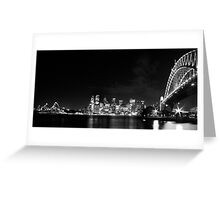 Sydney Harbour Bridge and Opera House in Black and White Greeting Card