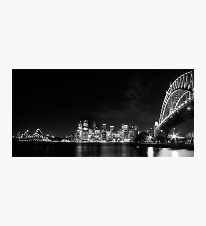 Sydney Harbour Bridge and Opera House in Black and White Photographic Print