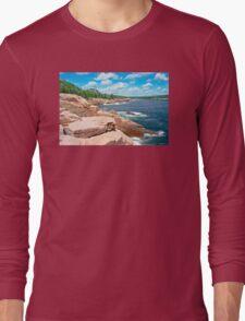 Rocky Summer Seascape Acadia National Park  Long Sleeve T-Shirt