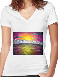 Mountain Sunset Euphoria Women's Fitted V-Neck T-Shirt