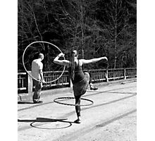Jumping Through Hoops (Black and White) Photographic Print