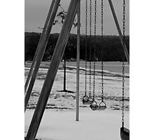 Frozen Swings (Black and White) Photographic Print
