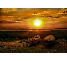 Lake sunset and 2 old boats Photographic Print