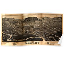 Panoramic Maps Oneonta NY Poster