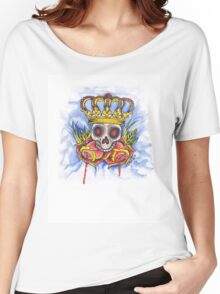 Skull Crown and Roses Women's Relaxed Fit T-Shirt