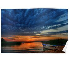 Boat, sunset and dramatic sky Poster