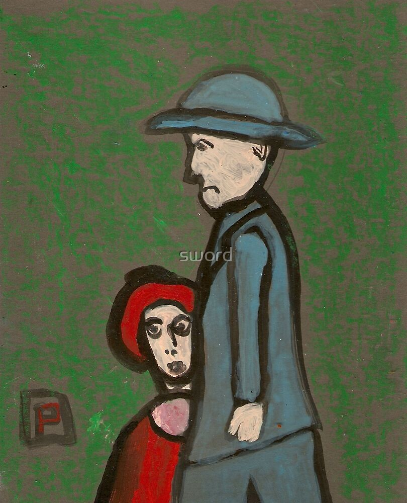 Man and child by sword