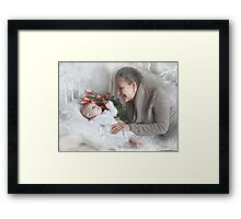 Grandma with a newborn grandson and flowers Framed Print