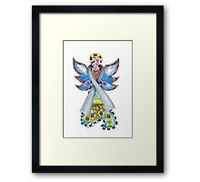 Brain Cancer Ribbon Angel ~ Peace, Love, Faith and Hope Framed Print