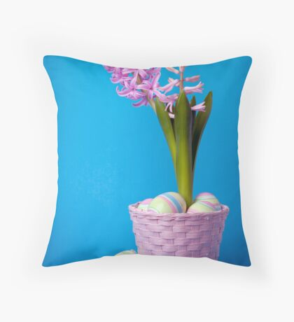 Easter composition with pink hyacinth and painted eggs Throw Pillow