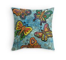 Watercolour Butterflies Throw Pillow