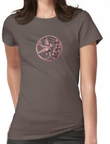 Lucky bird with flowers Womens Fitted T-Shirt