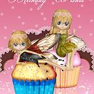 Fairy Cupcake (Fairy Cake) Birthday Greeting Card by Moonlake