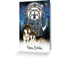 Birthday Card With Wolves and Scenery Greeting Card