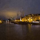 Canal by night in Leiden, The Netherlands by BillKret