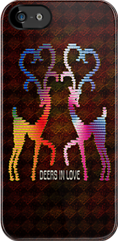 Deers In Love - Orange by Vidka Art