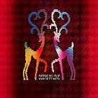 Deers In Love - Red*02 by Vidka Art