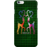 Deers In Love - Green*01 iPhone Case/Skin