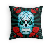 Blue Sugar Skull with Roses  Throw Pillow