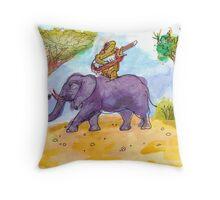 Turtle Keytaring on an Elephant Throw Pillow