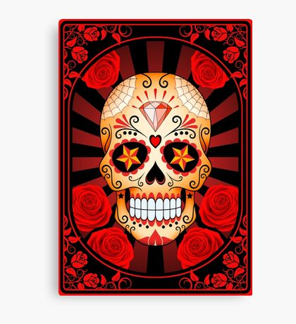 Red Sugar Skull with Roses Canvas Print