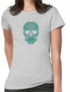 Teal Blue Swirling Sugar Skull Womens Fitted T-Shirt