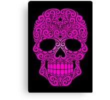 Pink Swirling Sugar Skull Canvas Print
