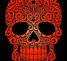 Red Swirling Sugar Skull by Jeff Bartels