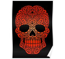 Red Swirling Sugar Skull Poster