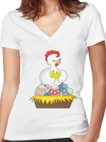 Chick and Eggs Women's Fitted V-Neck T-Shirt