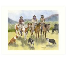 Cowboys Horses Border Collie Dogs Cathy Peek Art Print