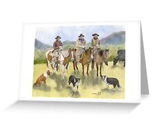 Cowboys Horses Border Collie Dogs Cathy Peek Greeting Card