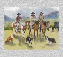 Cowboys Horses Border Collie Dogs Cathy Peek One Piece - Short Sleeve