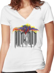 unzip the colour wave Women's Fitted V-Neck T-Shirt