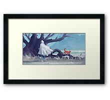 The white girl and the red cat Framed Print