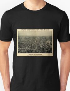 Panoramic Maps A bird's-eye view of Providence showing the new railroad station and State House T-Shirt
