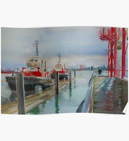 Tugboats, watercolor and mixed media on paper Poster