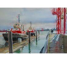 Tugboats, watercolor and mixed media on paper Photographic Print