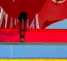 Plastic - Wavy Red, Scalloped Yellow Sticker