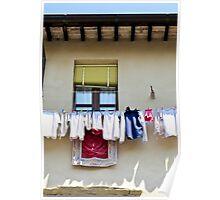 washing hanging in Gubbio Poster