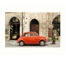 orange car in Gubbio Art Print