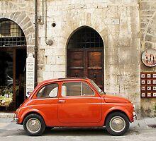 orange car in Gubbio by Anne Scantlebury