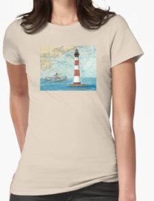 Morris Island Lighthouse SC Chart Map Cathy Peek Womens Fitted T-Shirt