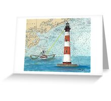 Morris Island Lighthouse SC Chart Map Cathy Peek Greeting Card
