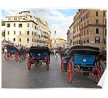 carriages in Rome Poster