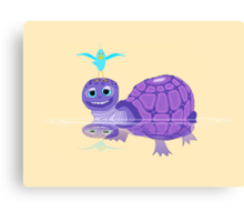 The Purple Turtle And A Bluebird Of Glee Canvas Print