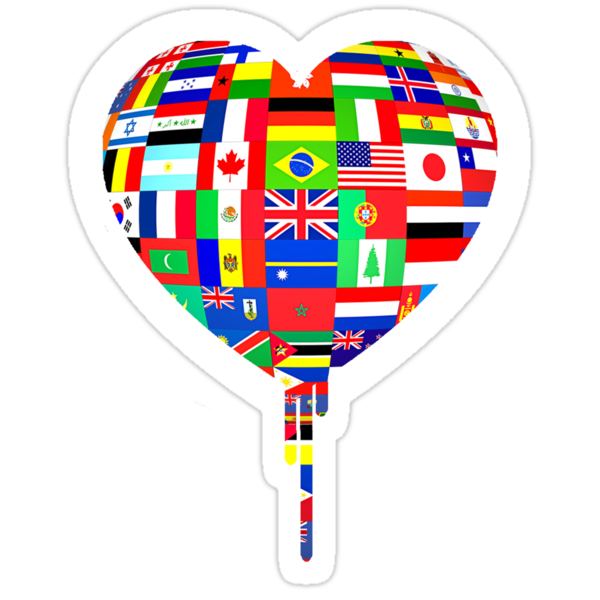 WORLD FLAGS BLEEDING HEART by SOL  SKETCHES™