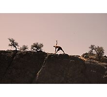 stretching in the desert Photographic Print