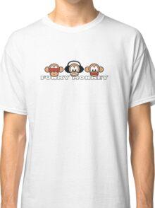 cartoon style three funky monkey Classic T-Shirt